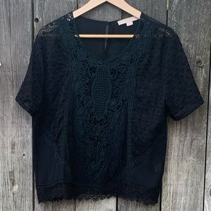 Gorgeous New Anthropologie Black Lace Top Size L